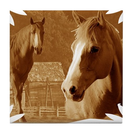horse sepia picture Tile Coaster