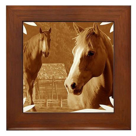 horse sepia picture Framed Tile