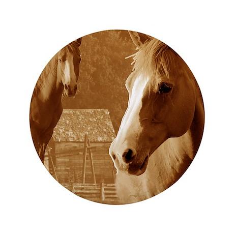 """horse sepia picture 3.5"""" Button"""