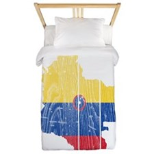 Colombia Civil Ensign Flag And Map Twin Duvet