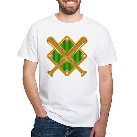 Baseball Diamond Crossed Bat Retro White T-Shirt