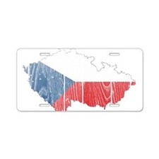 Czech Flag And Map Aluminum License Plate