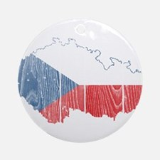 Czech Flag And Map Ornament (Round)