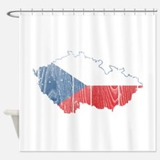Czech Flag And Map Shower Curtain