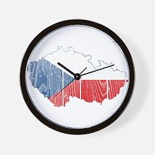Czech Flag And Map Wall Clock