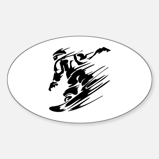 Snowboarding Sticker (Oval)