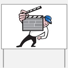Director With Movie Clapboard Cartoon Yard Sign