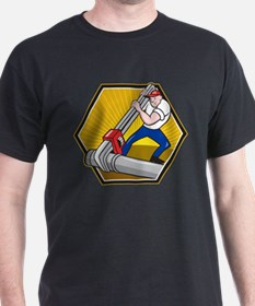 Plumber Worker With Adjustable Wrench Cartoon T-Shirt
