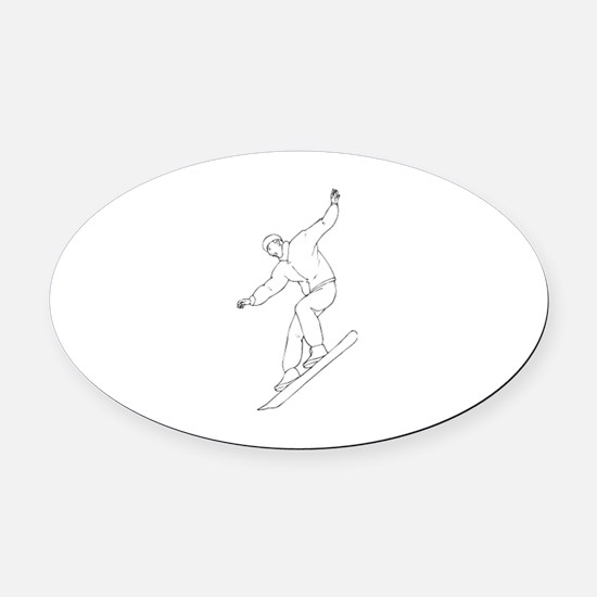 Snowboarding Oval Car Magnet