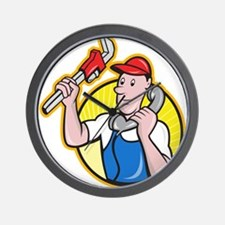Plumber Worker With Adjustable Wrench Phone Wall C