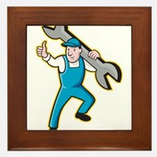 Mechanic With Spanner Thumbs Up Framed Tile