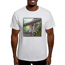 Lemur Peeking Ash Grey T-Shirt