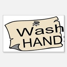 Wash Hands Custom Sticker (Rectangle)