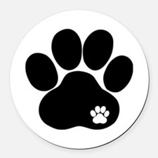 Double Paw Round Car Magnet