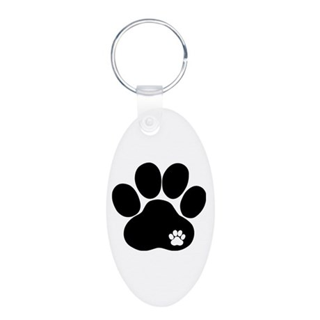 Double Paw Aluminum Oval Keychain