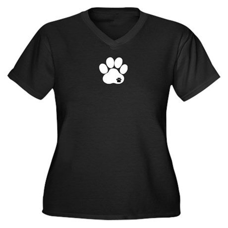 Double Paw Women's Plus Size V-Neck Dark T-Shirt