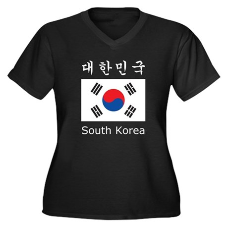 South Korea Flag Women's Plus Size V-Neck Dark T-S