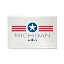 Michigan-Star Stripes: Rectangle Magnet (100 pack)