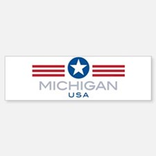 Michigan-Star Stripes: Bumper Bumper Bumper Sticker