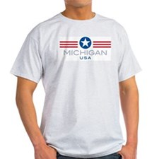 Michigan-Star Stripes: Ash Grey T-Shirt