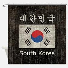 Vintage South Korea Flag Shower Curtain