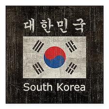 "Vintage South Korea Flag Square Car Magnet 3"" x 3"""