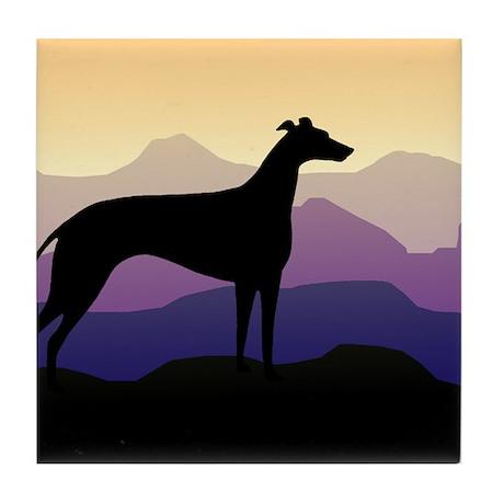greyhound dog purple mountains Tile Coaster