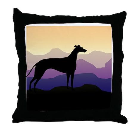 greyhound dog purple mountains Throw Pillow