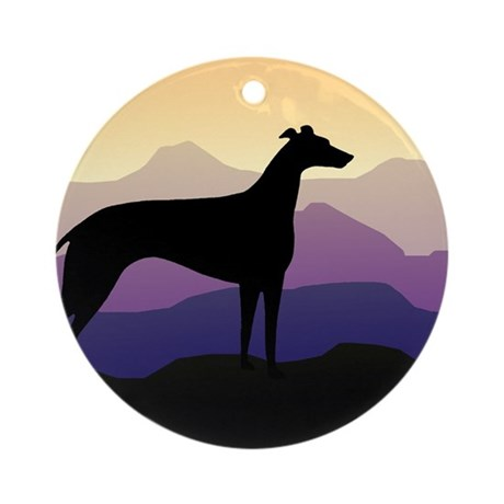 greyhound dog purple mountains Ornament (Round)