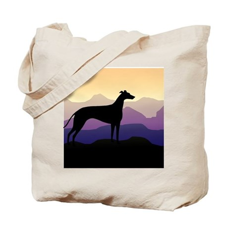 greyhound dog purple mountains Tote Bag