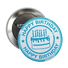 "Happy Birthday Cake Bright Blue 2.25"" Button"
