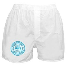 Happy Birthday Cake Bright Blue Boxer Shorts