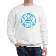 Happy Birthday Cake Bright Blue Sweatshirt