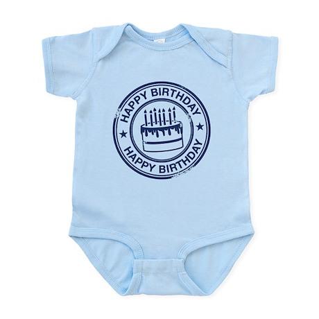 Happy Birthday Cake dark blue Infant Bodysuit