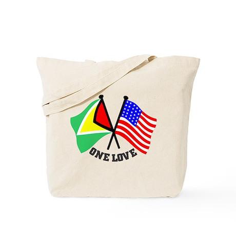 One Love - Guyana/American flag t-shirt Tote Bag