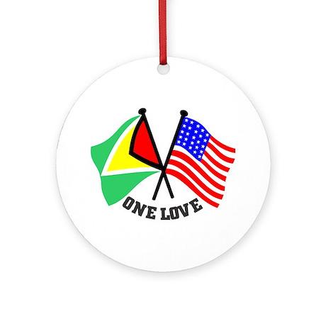 One Love - Guyana/American flag t-shirt Ornament (