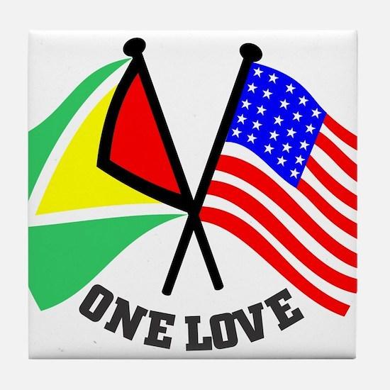 One Love - Guyana/American flag t-shirt Tile Coast