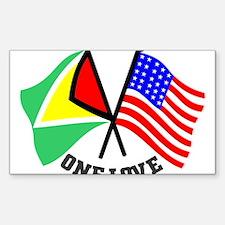 One Love - Guyana/American flag t-shirt Decal