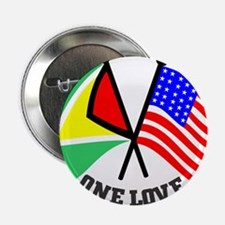 "One Love - Guyana/American flag t-shirt 2.25"" Butt"