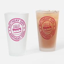 Birthday Girl Hot Pink Drinking Glass