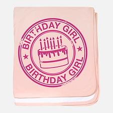 Birthday Girl Hot Pink baby blanket