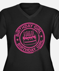 Birthday Girl Hot Pink Women's Plus Size V-Neck Da