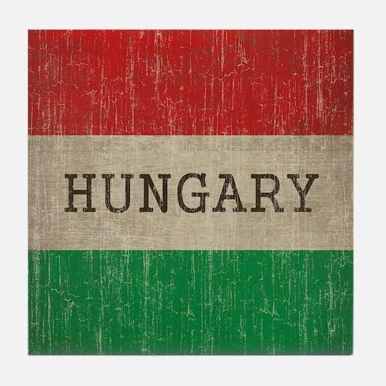 Vintage Hungary Flag Tile Coaster