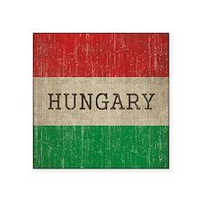 "Vintage Hungary Flag Square Sticker 3"" x 3"""