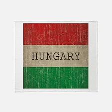 Vintage Hungary Flag Throw Blanket