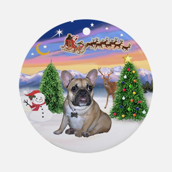 Take Off - French Bulldog Puppy Ornament (Round)
