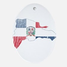 Dominican Republic Flag And Map Ornament (Oval)