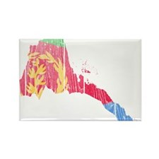 Eritrea Flag And Map Rectangle Magnet