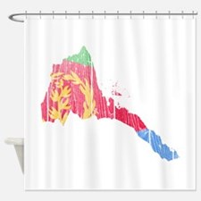 Eritrea Flag And Map Shower Curtain