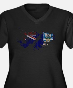 Falkland Islands Flag And Map Women's Plus Size V-